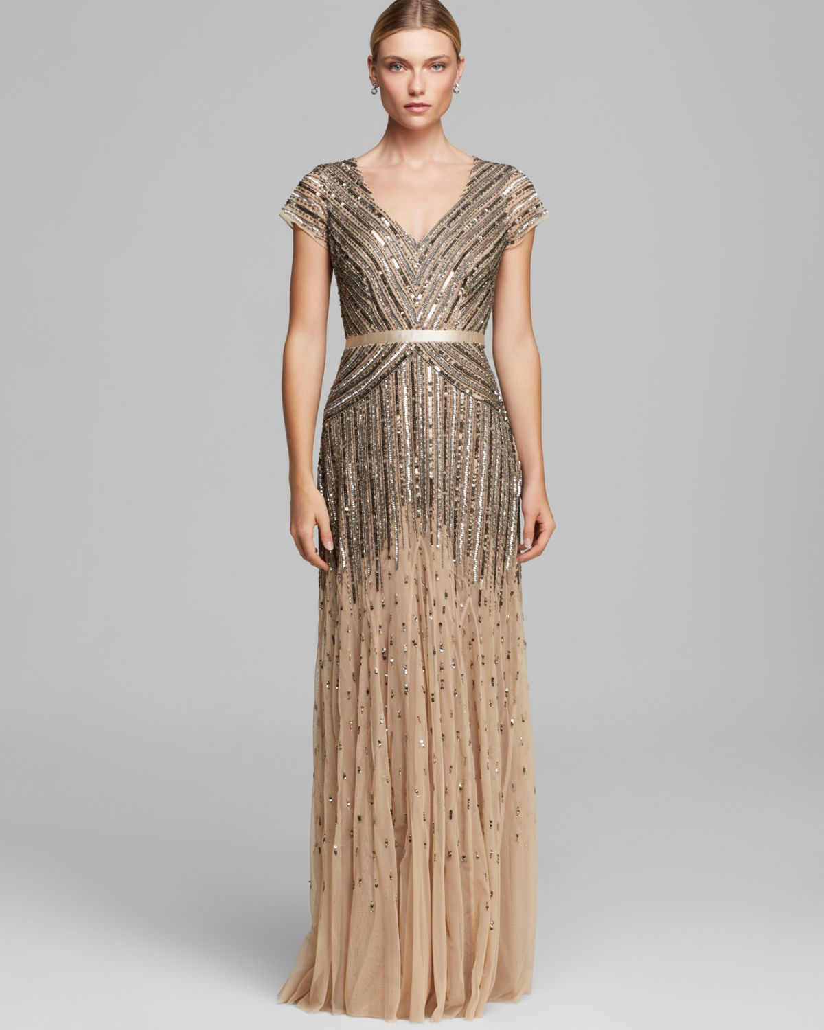 Lyst - Adrianna Papell Dress - V Neck Cap Sleeve Beaded in Brown