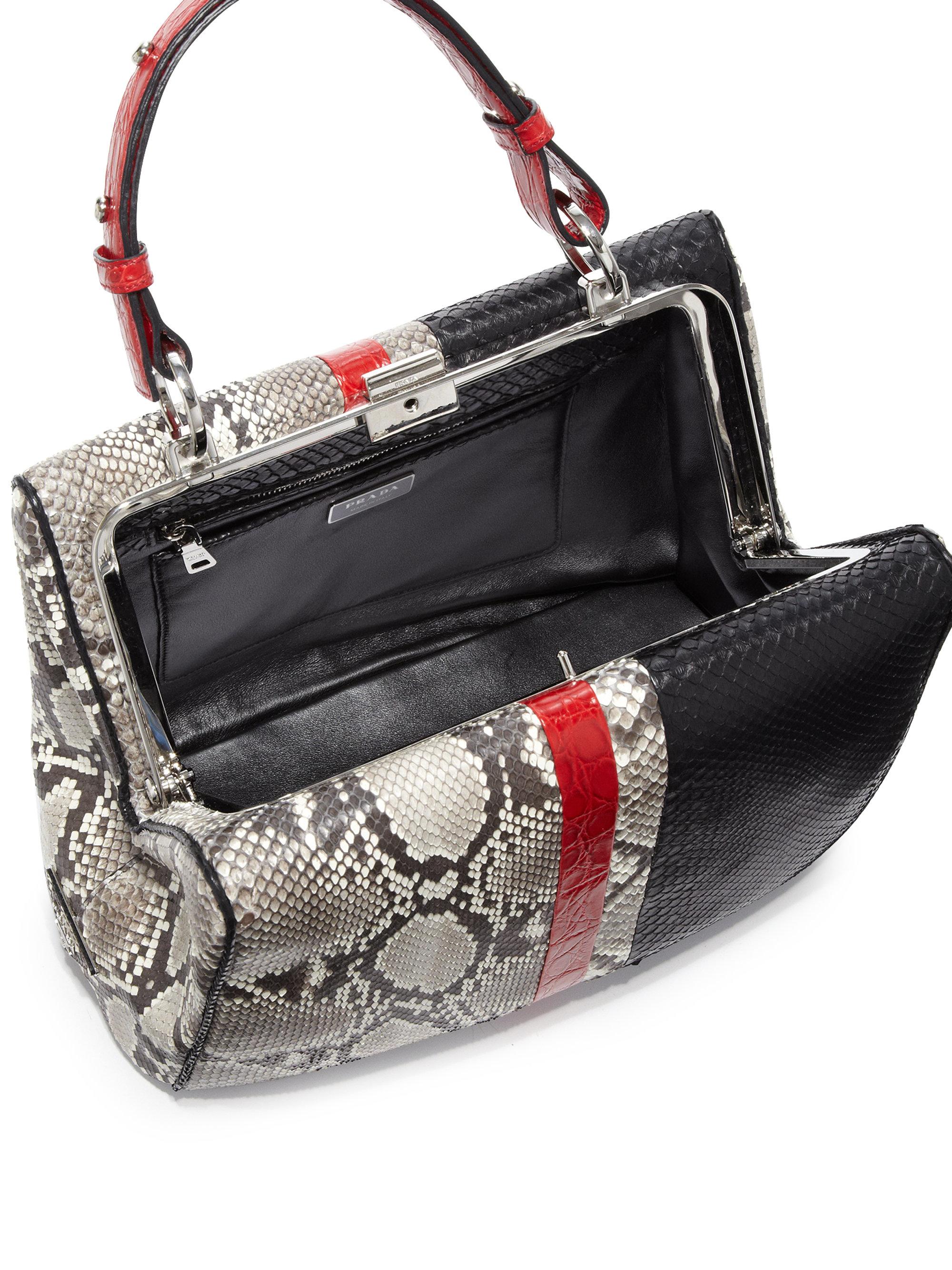 11fcd16fa9f5 Prada Python & Crocodile Baiadera Frame Bag in Black - Lyst