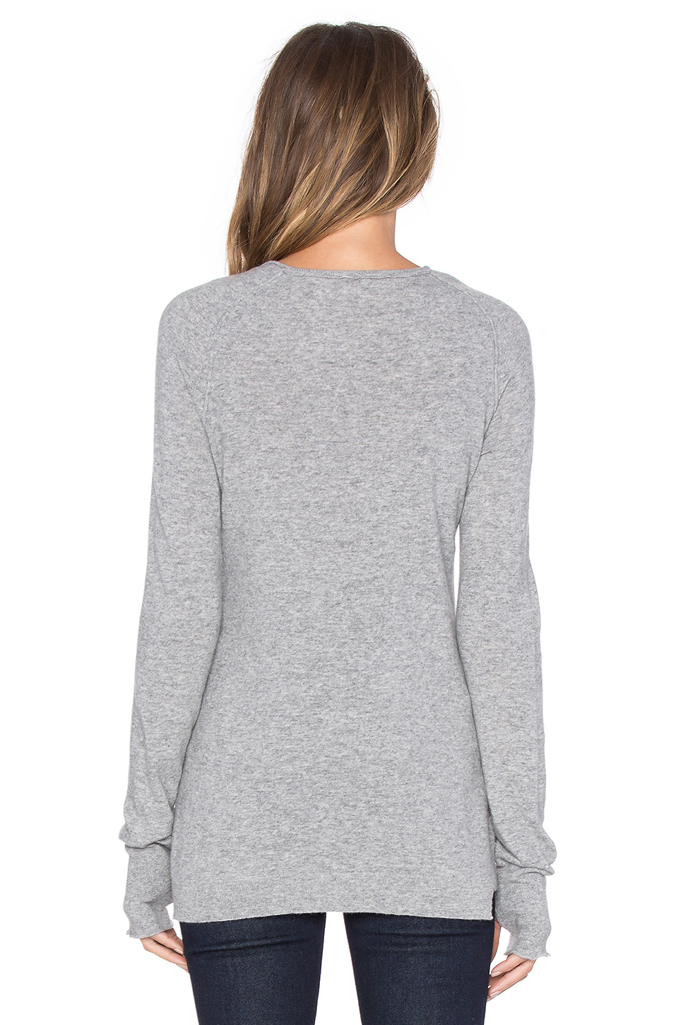 thumbhole dress lyst inhabit thumbhole stretch sweater in gray 1141