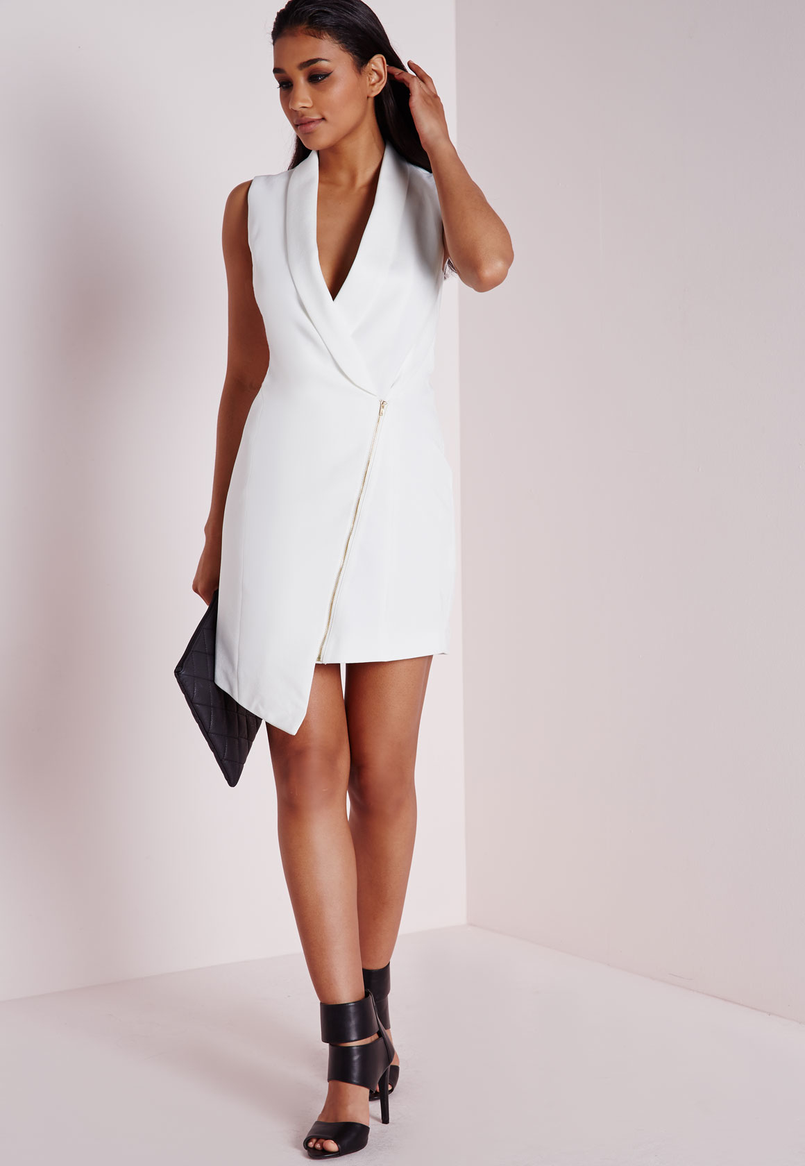 lyst missguided crepe sleeveless blazer dress white in white. Black Bedroom Furniture Sets. Home Design Ideas
