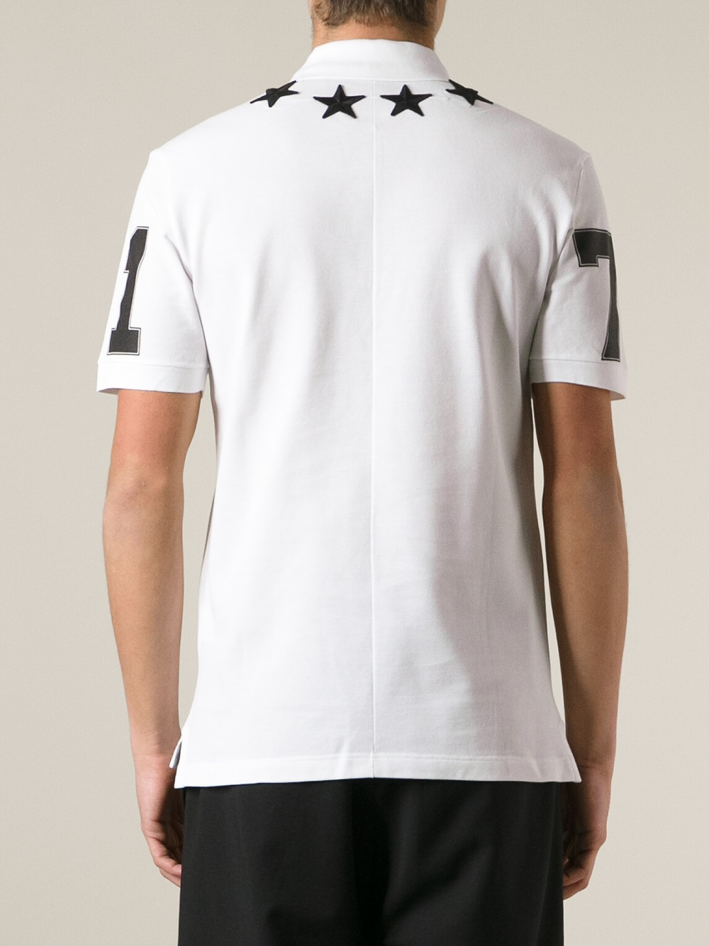 Lyst givenchy star patch polo shirt in white for men for Givenchy 5 star shirt
