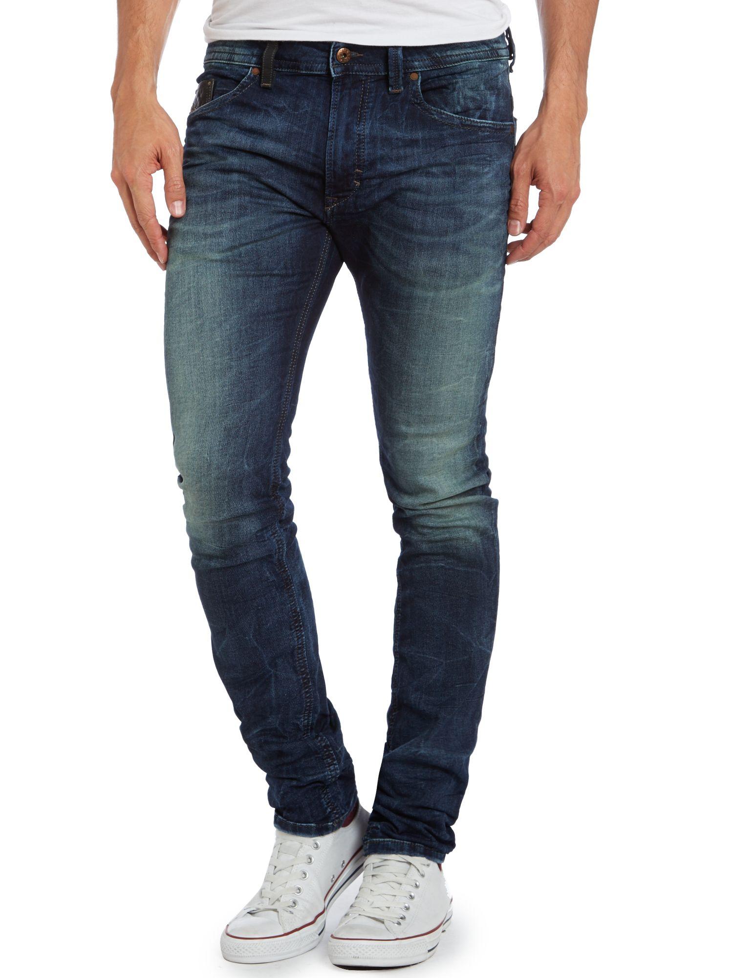 diesel thavar 600s skinny mid wash jogg jeans in blue for. Black Bedroom Furniture Sets. Home Design Ideas