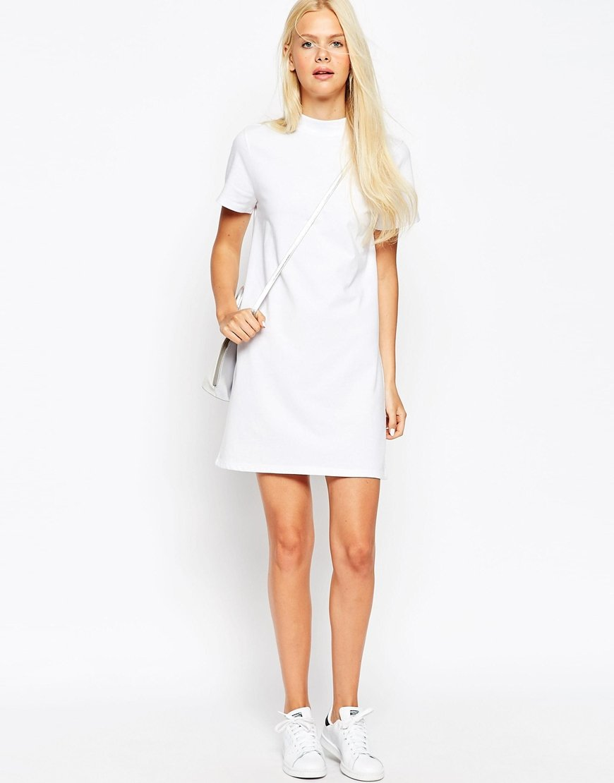 Asos T-shirt Dress With High Neck in White | Lyst