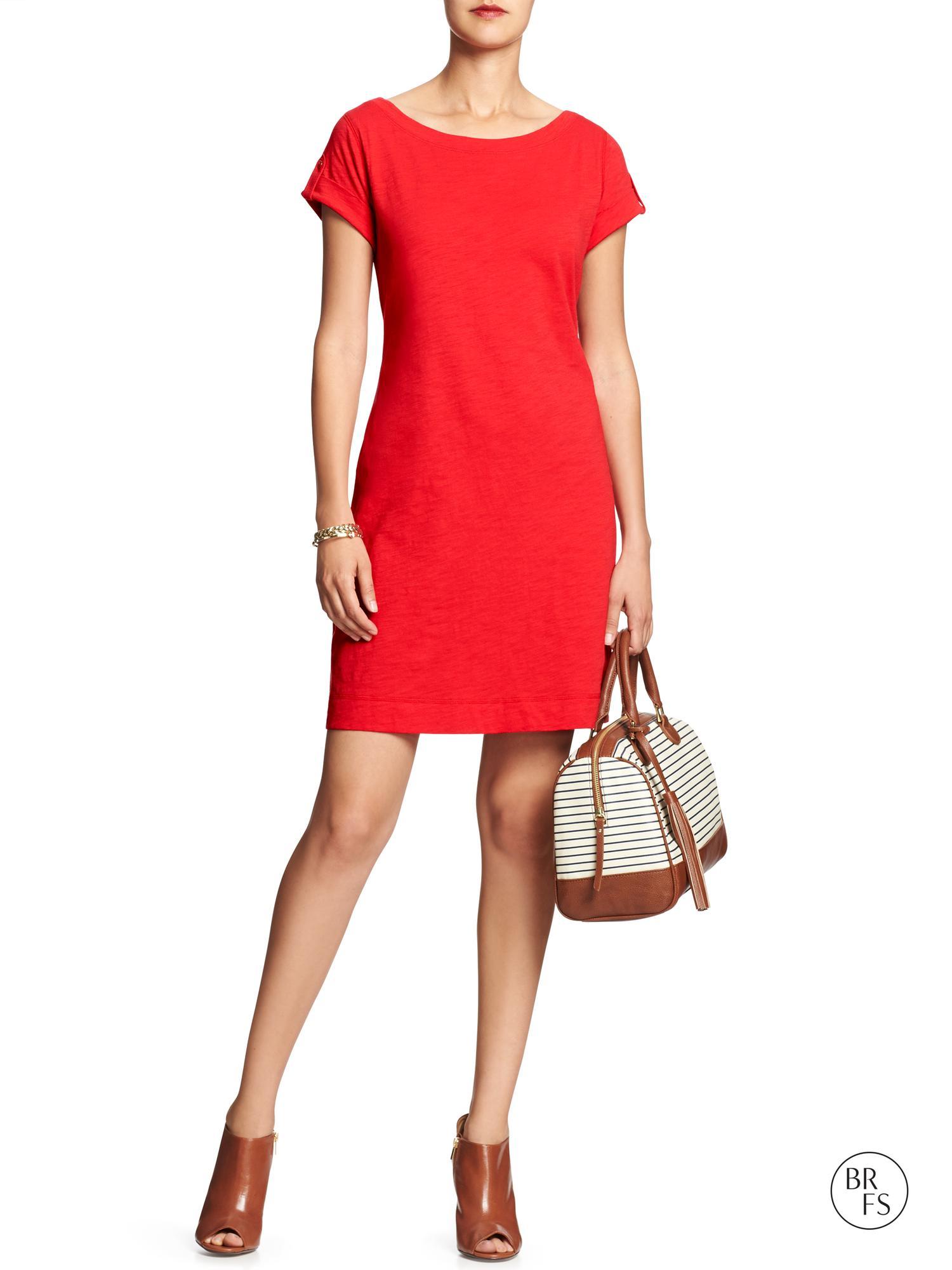 Banana Republic Factory Solid Slub Knit Dress Rainbow Red