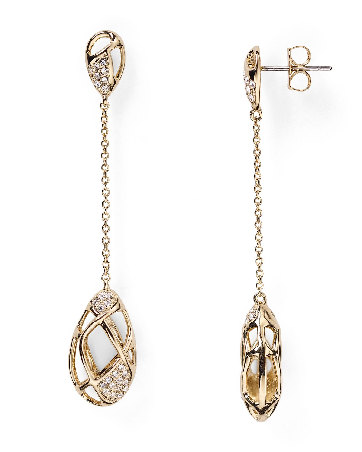 Lyst Nadri Pave Linear Drop Earrings In Metallic