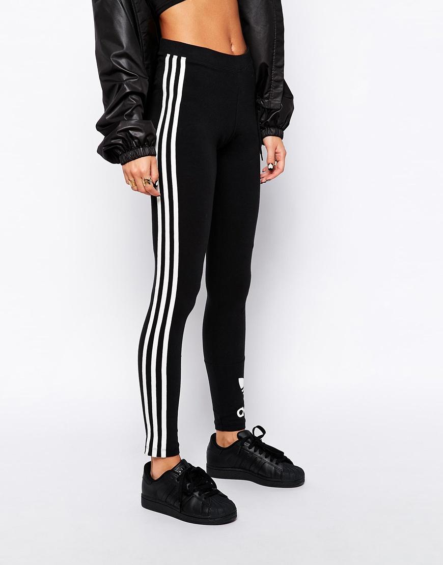 adidas originals 3 stripe leggings in black lyst. Black Bedroom Furniture Sets. Home Design Ideas