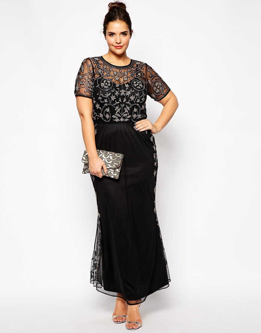 0ca6574786f2e ASOS Curve Red Carpet Pretty Embellished Maxi Dress in Black - Lyst