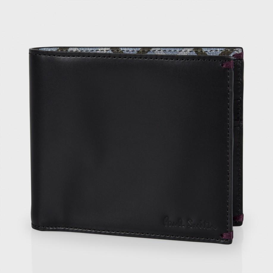 Paul Smith Black Leather 39 Belvoir Tiles 39 Print Interior Billfold Wallet In Black For Men Lyst
