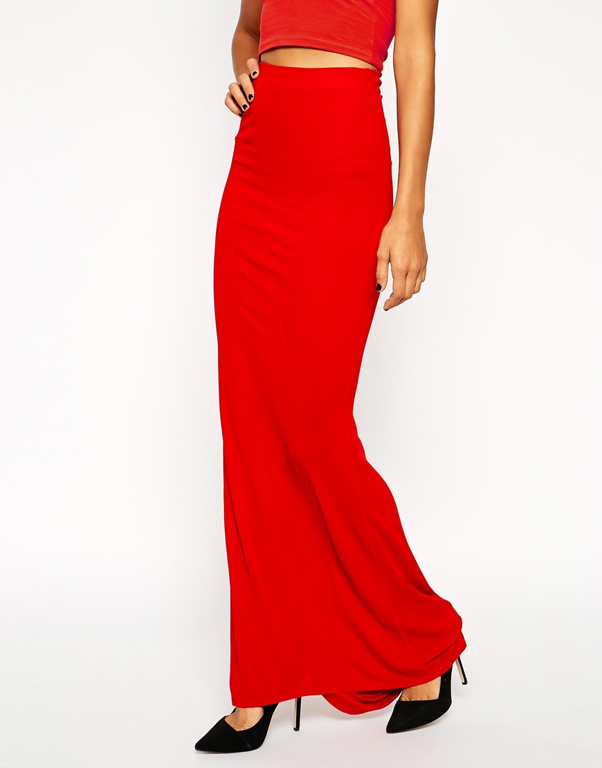 asos fitted maxi skirt in crepe with trail in lyst
