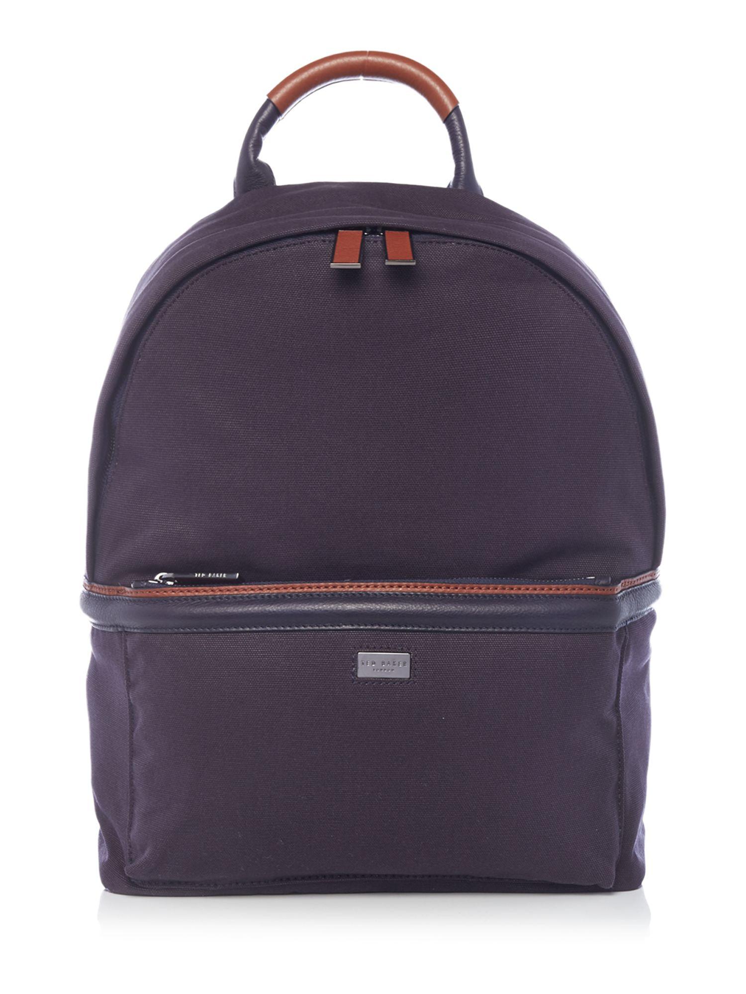 ted baker canvas and leather backpack in blue for men lyst. Black Bedroom Furniture Sets. Home Design Ideas