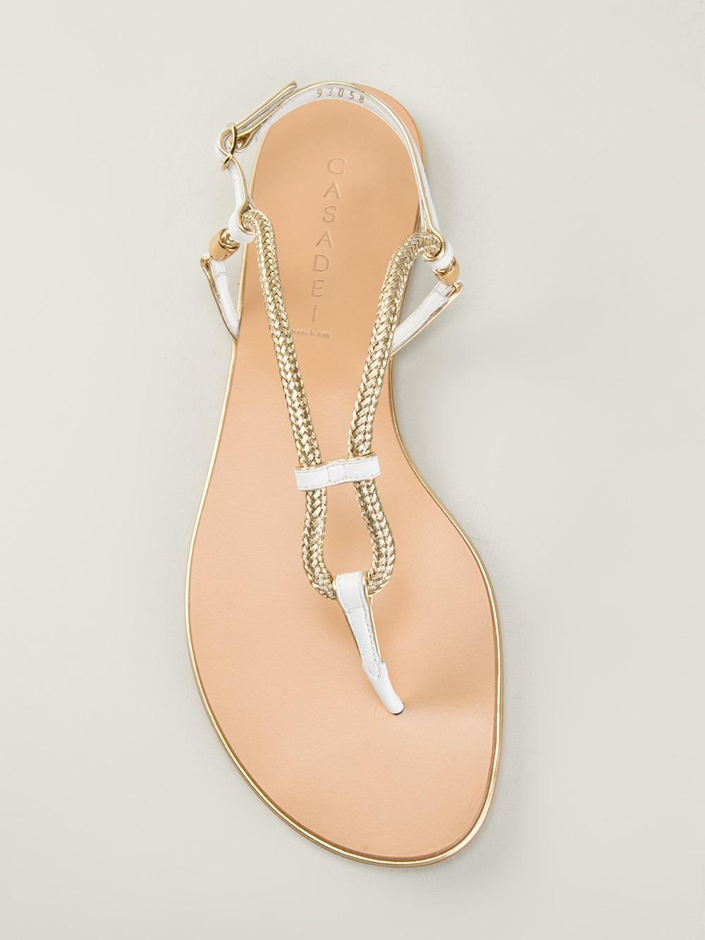 94555ac0480 Lyst - Casadei Flat Sandals in Metallic