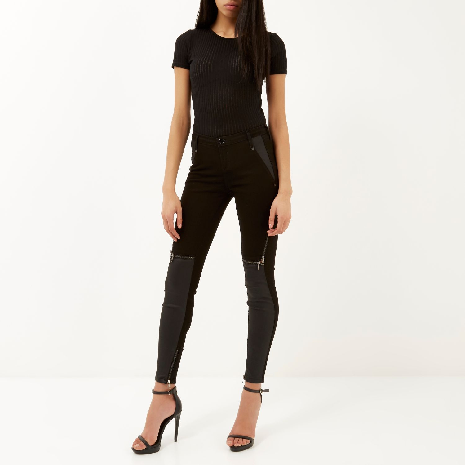 River island black skinny ripped jeans