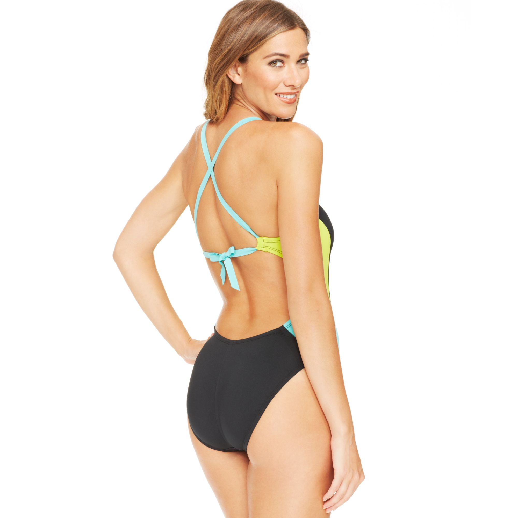 Lyst - Nike Bondi Colorblock Onepiece Swimsuit in Black 9a3378a5af