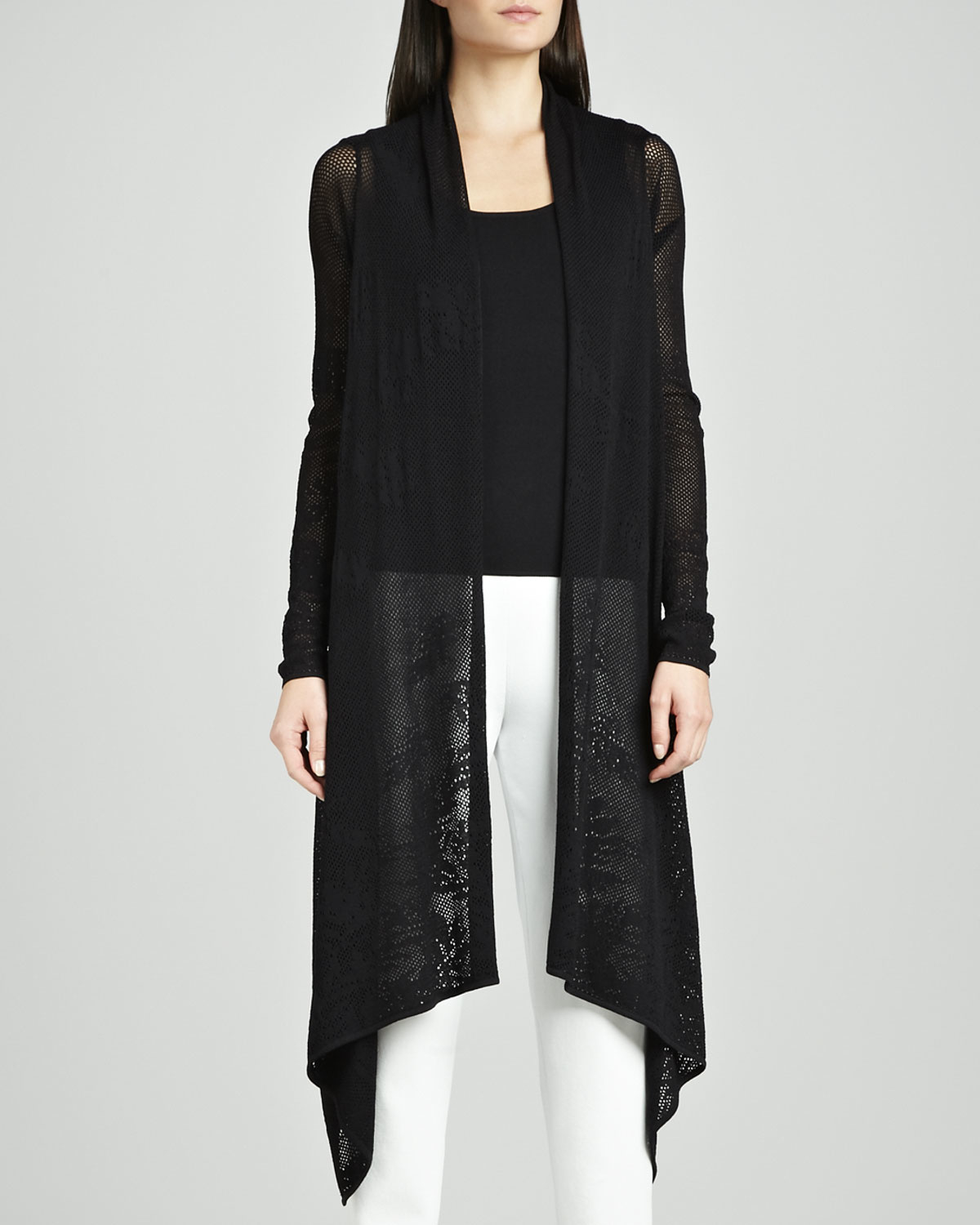 Neiman marcus Long Lace Waterfall Cardigan in Black | Lyst