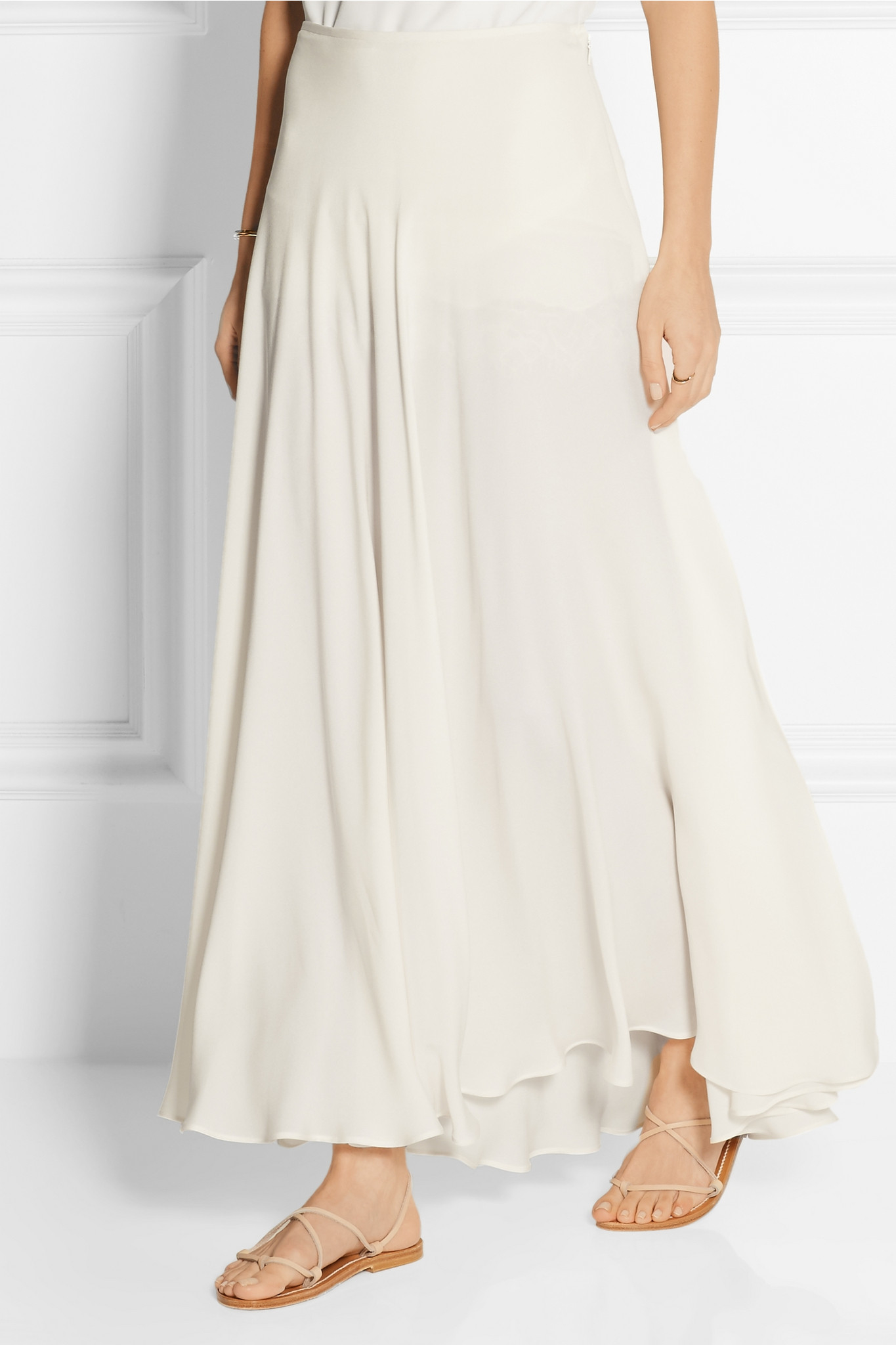 Elie saab Silk-blend Crepe Maxi Skirt in White | Lyst