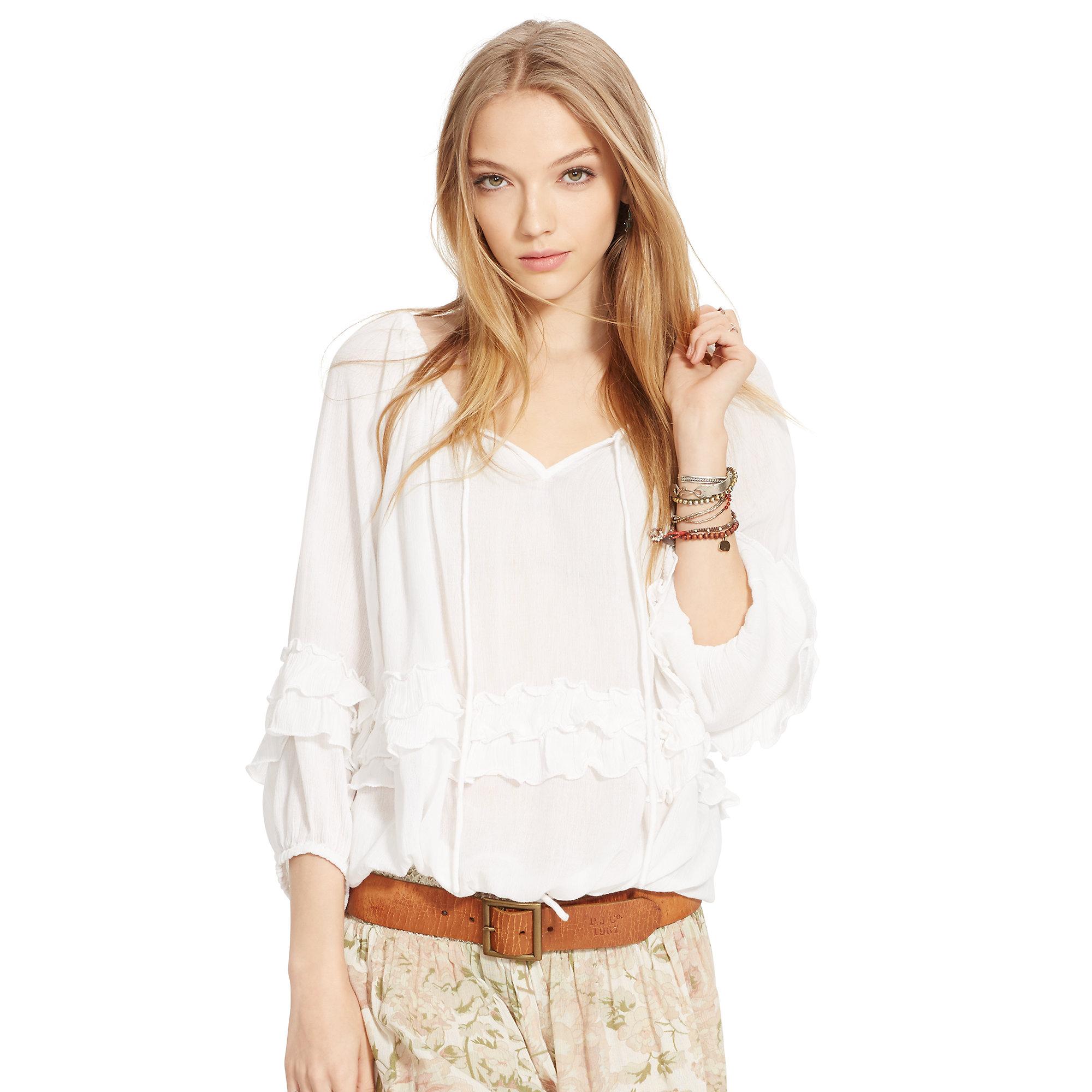 Lyst - Denim   Supply Ralph Lauren Ruffled Boho Top in White 109ab2f08659