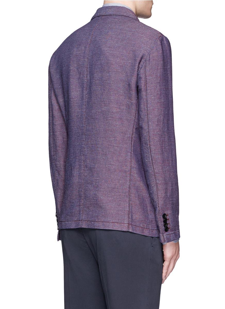 Lyst Armani Indaco Textured Cotton Linen Jersey Blazer
