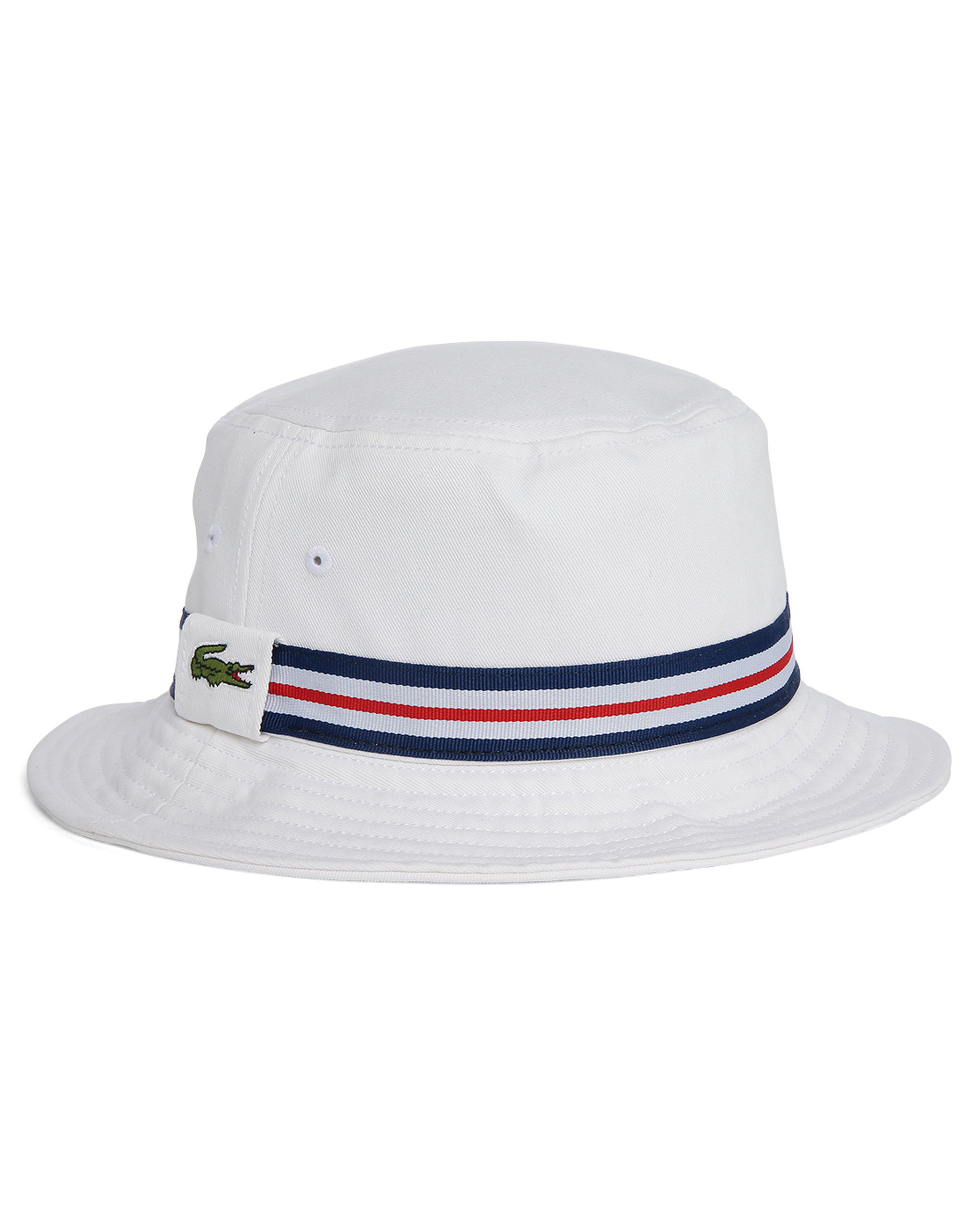 Lacoste White Logo Bucket Hat With Blue White Red Band In