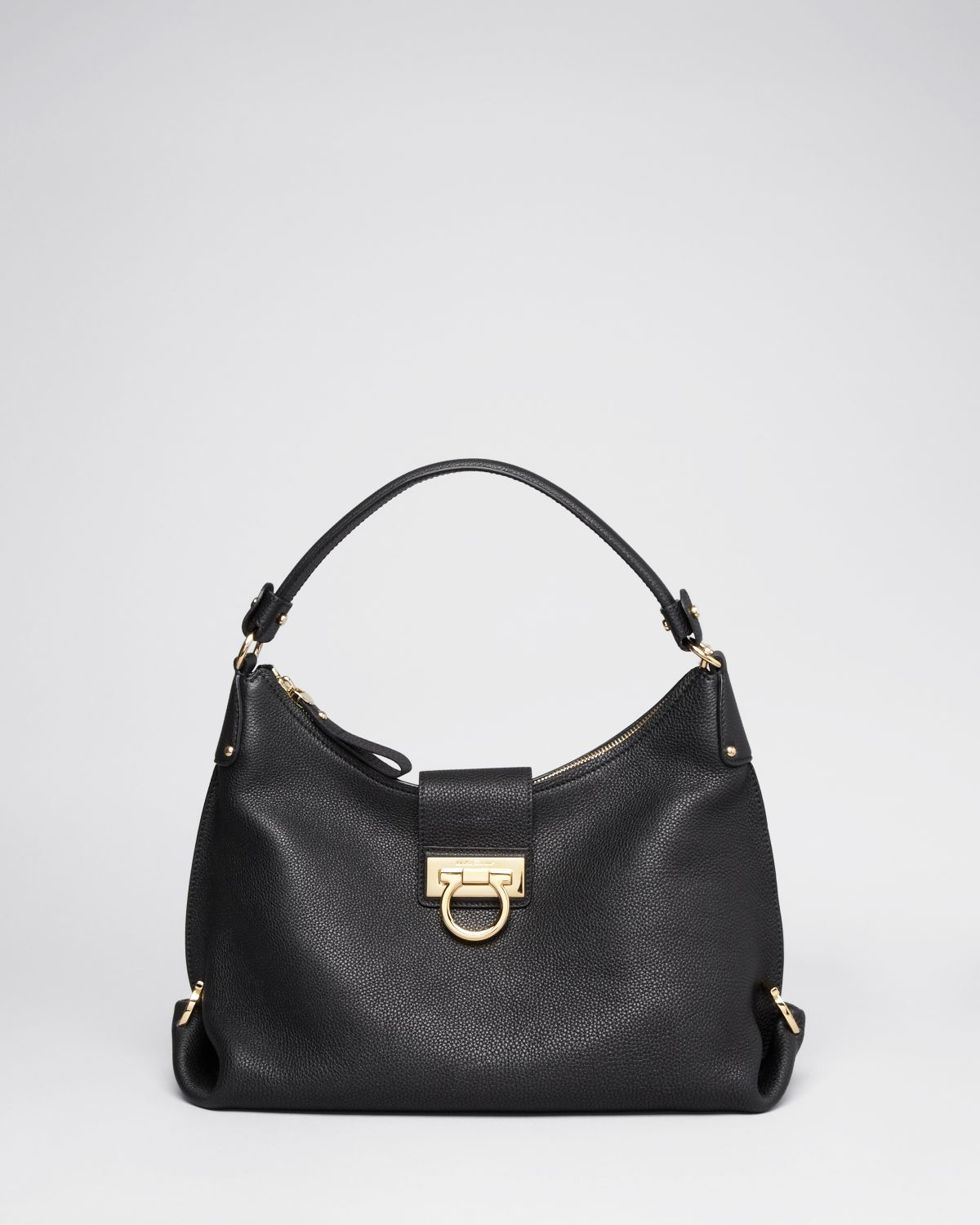 d91e8ccb77 Lyst - Ferragamo Hobo - Small Pebbled Fanisa in Black