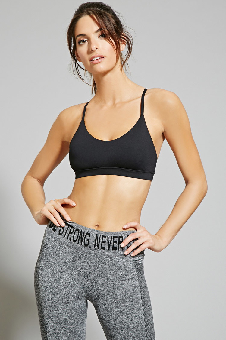 04d4492d2be05 Lyst - Forever 21 Low Impact - Strappy Sports Bra in Black