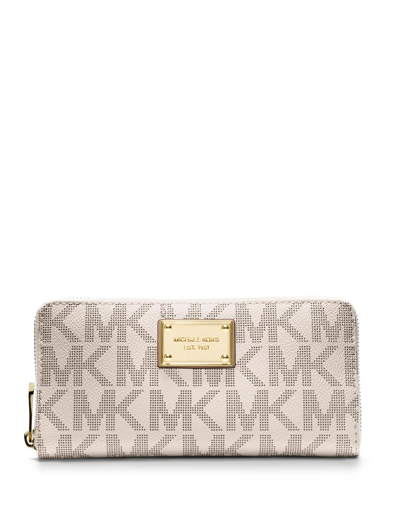6e099374651163 MICHAEL Michael Kors Jet Set Travel Logo Continental Wallet in White ...