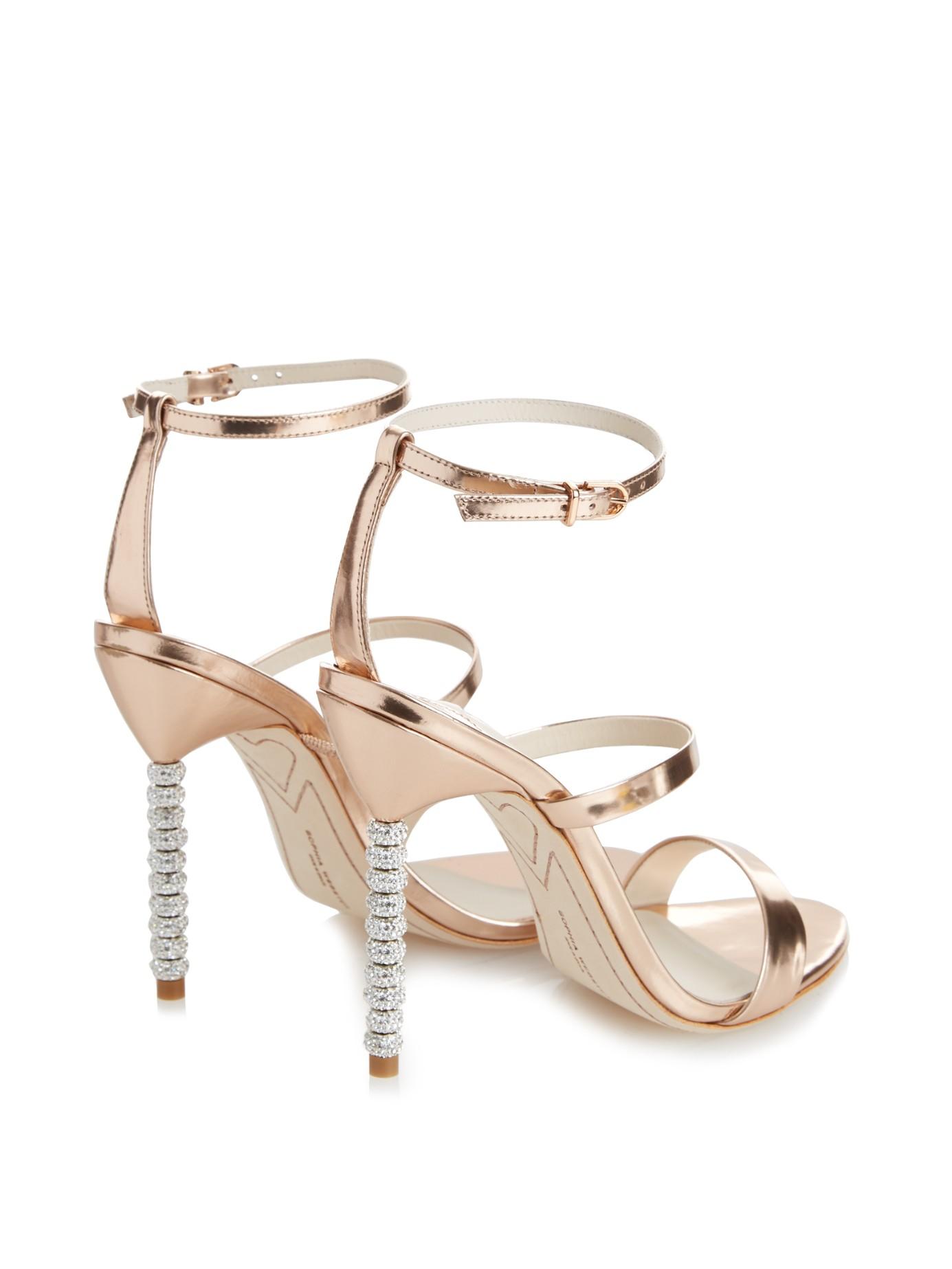 49965a443dc Sophia Webster Rosalind Crystal-Heel Metallic Leather Sandals in Metallic -  Lyst