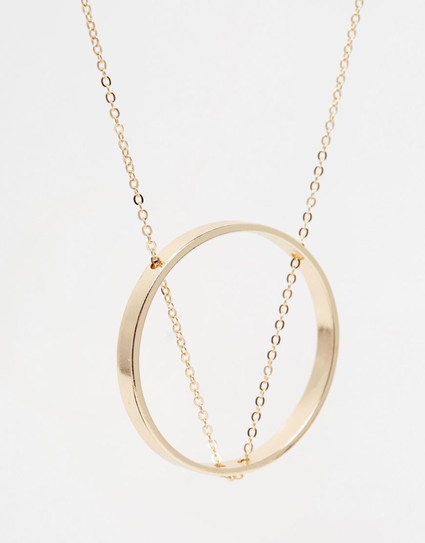 Lyst asos thread through chain open circle long pendant necklace gallery mozeypictures
