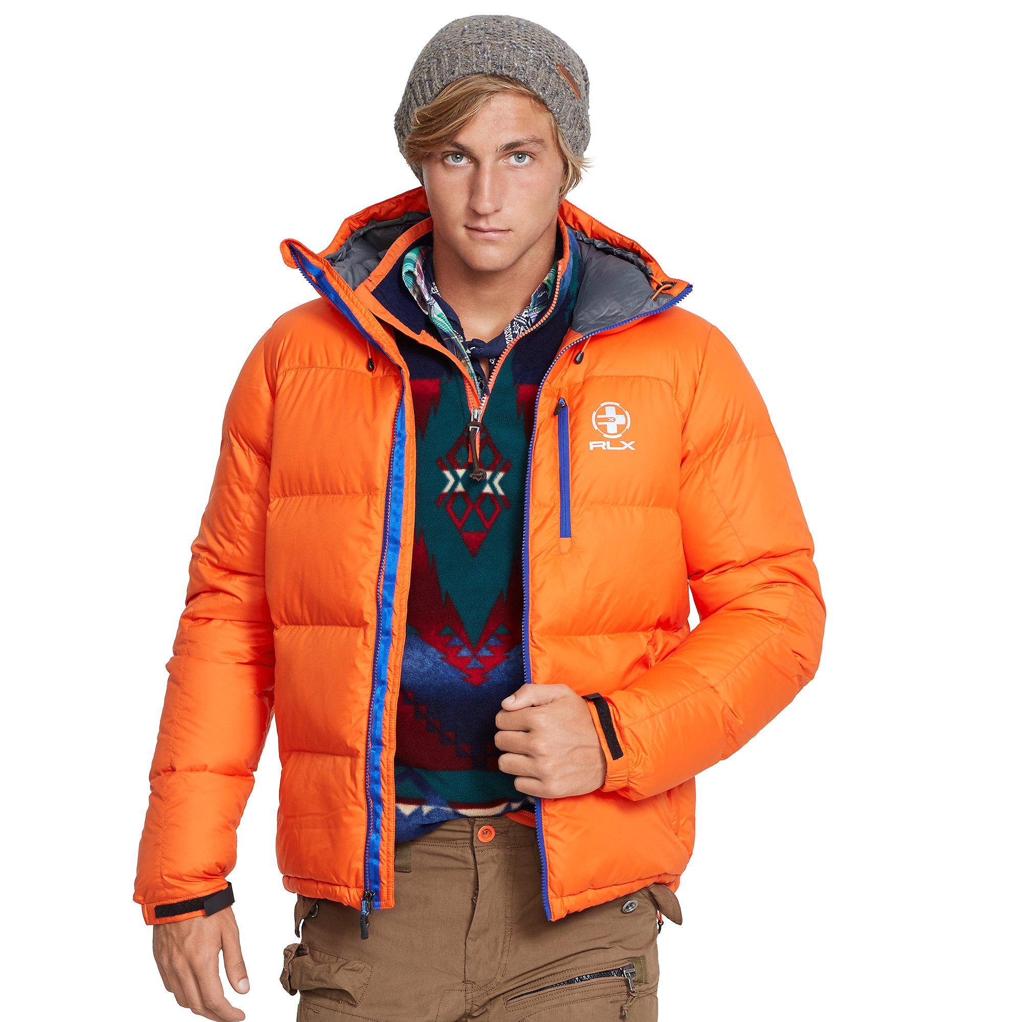 Rlx Ralph Lauren Channel Quilted Down Jacket In Orange For