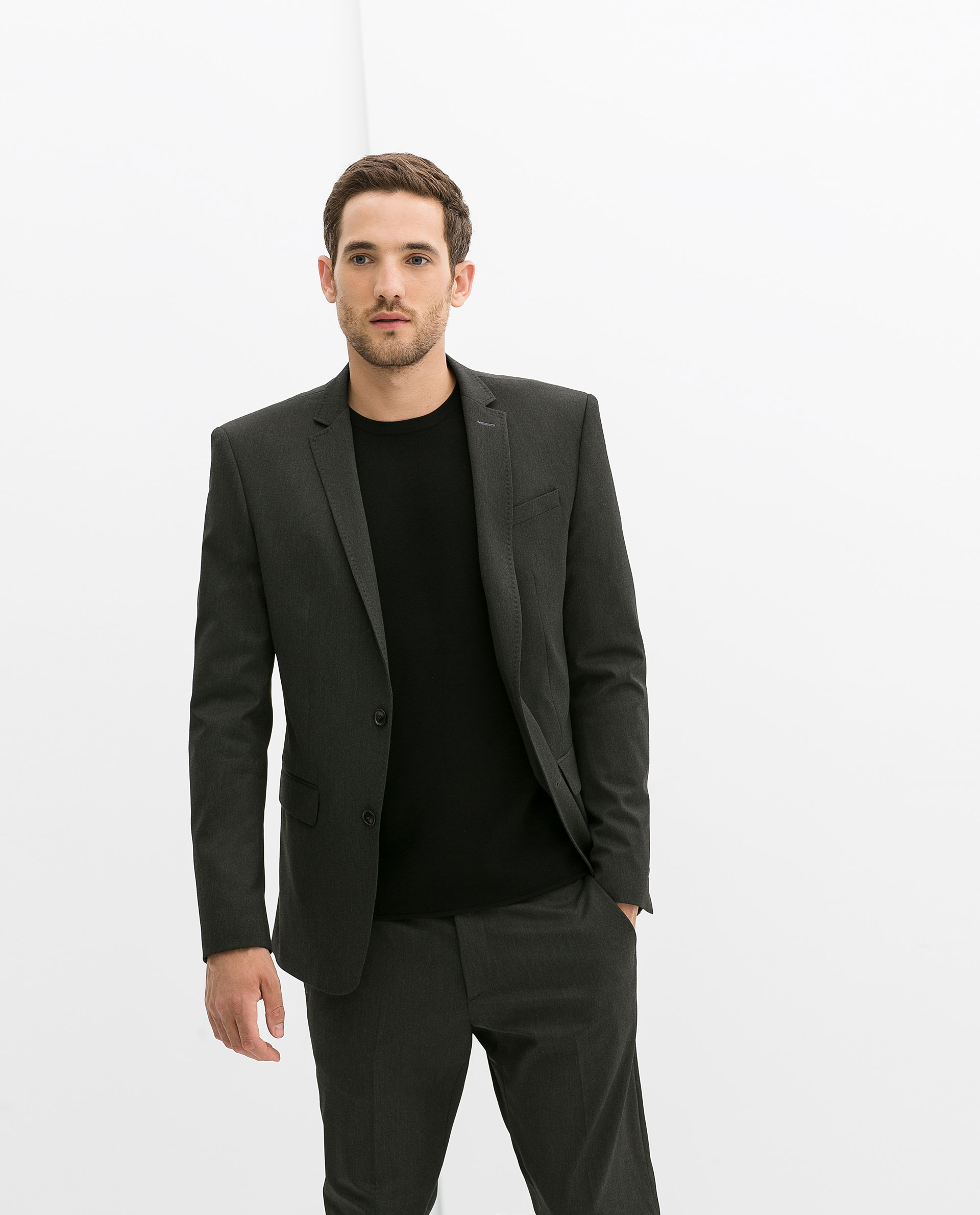 Zara Charcoal Slim Fit Blazer in Gray for Men | Lyst