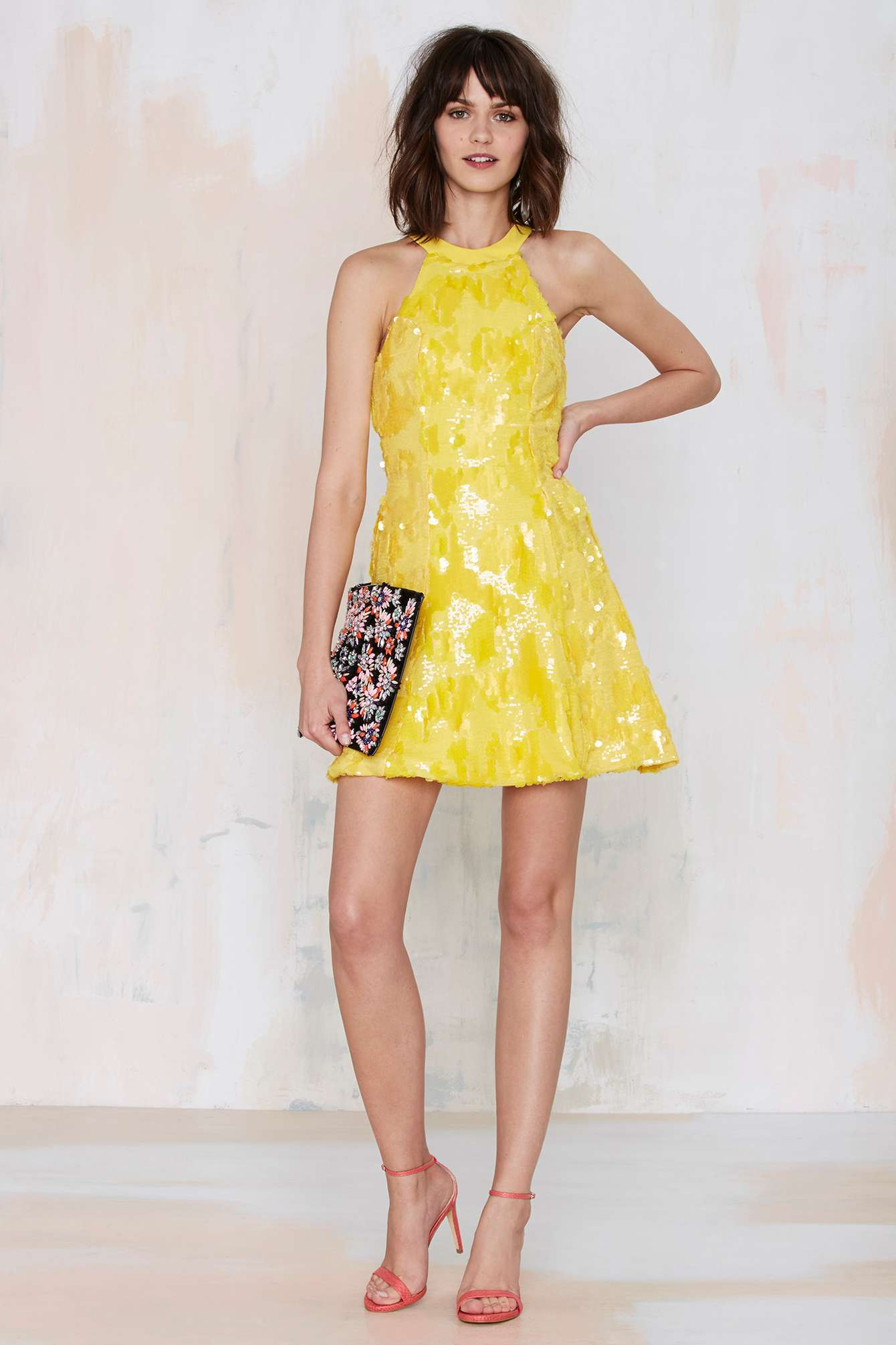 lyst  dress the population anni sequin dress  yellow in