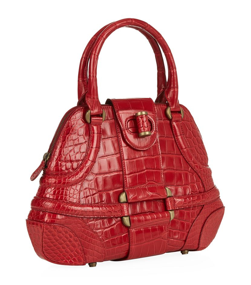 a5bc1eeac Alexander McQueen Small Crocodile Novak Bag in Red - Lyst