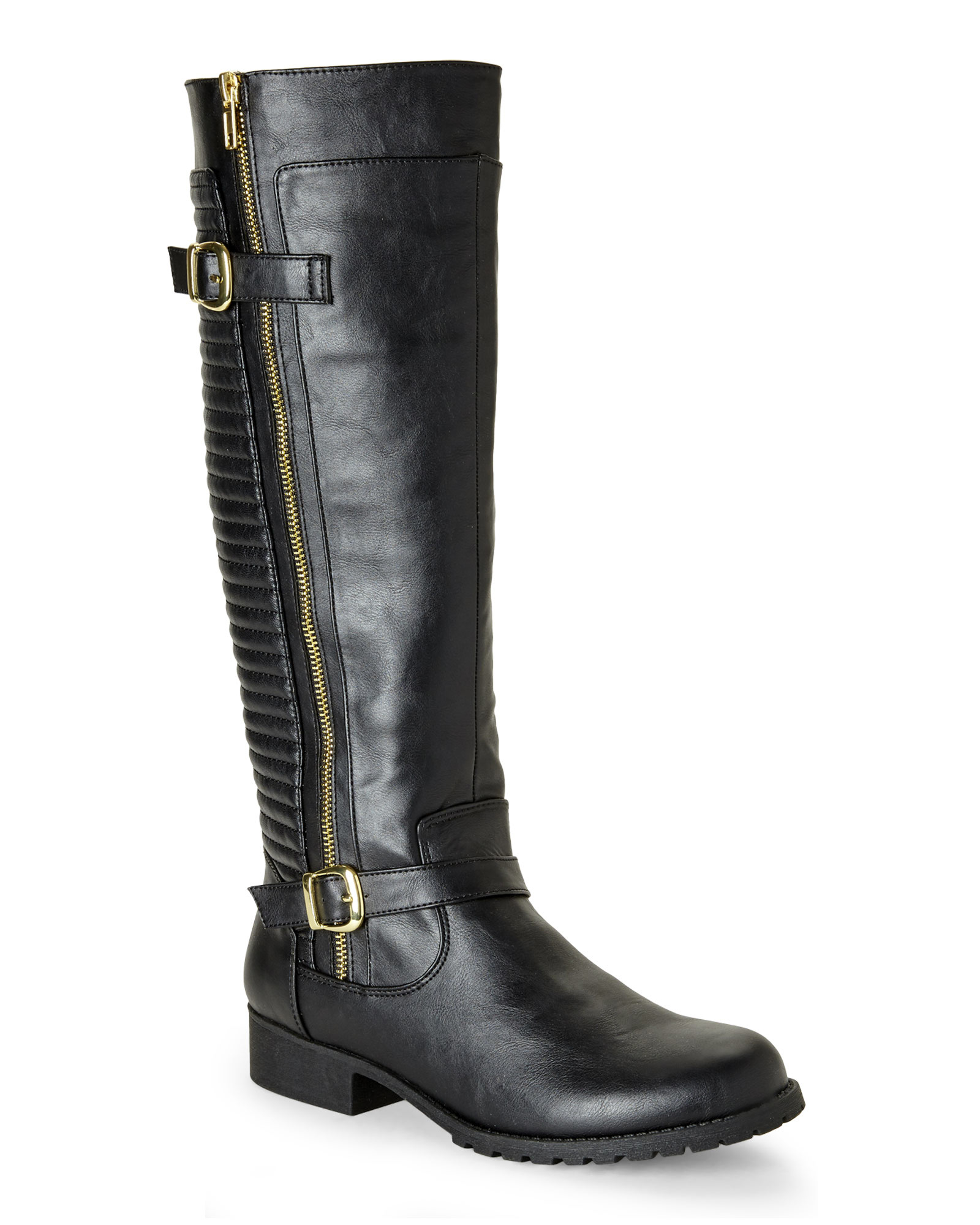 steve madden black quincy quilted biker boots in black lyst. Black Bedroom Furniture Sets. Home Design Ideas