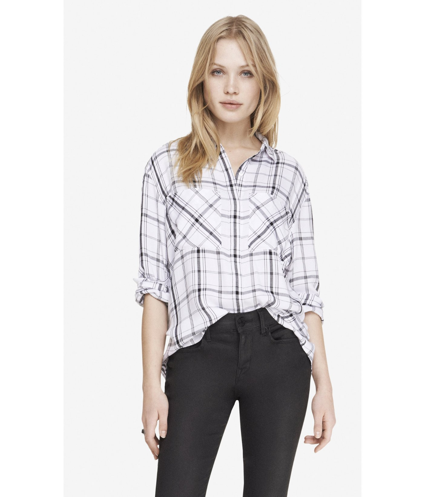 Lyst Express Oversized Plaid Shirt In Black