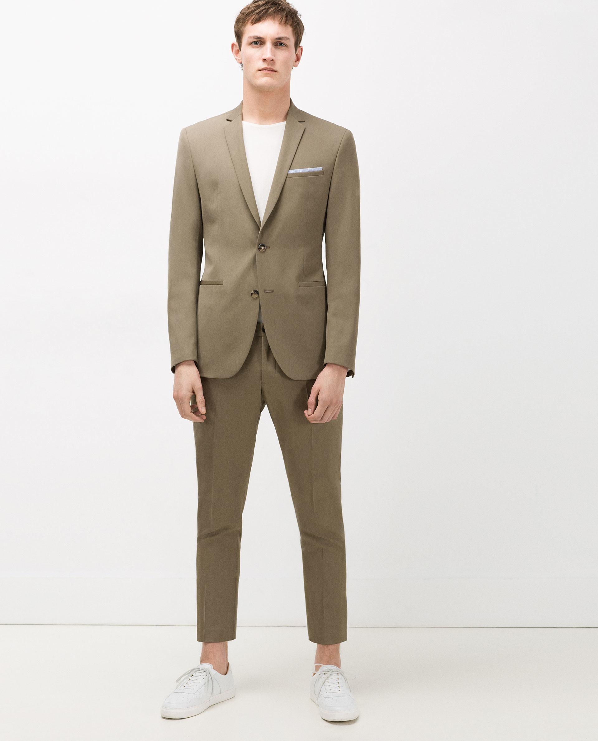 zara khaki suit blazer in natural for men lyst. Black Bedroom Furniture Sets. Home Design Ideas