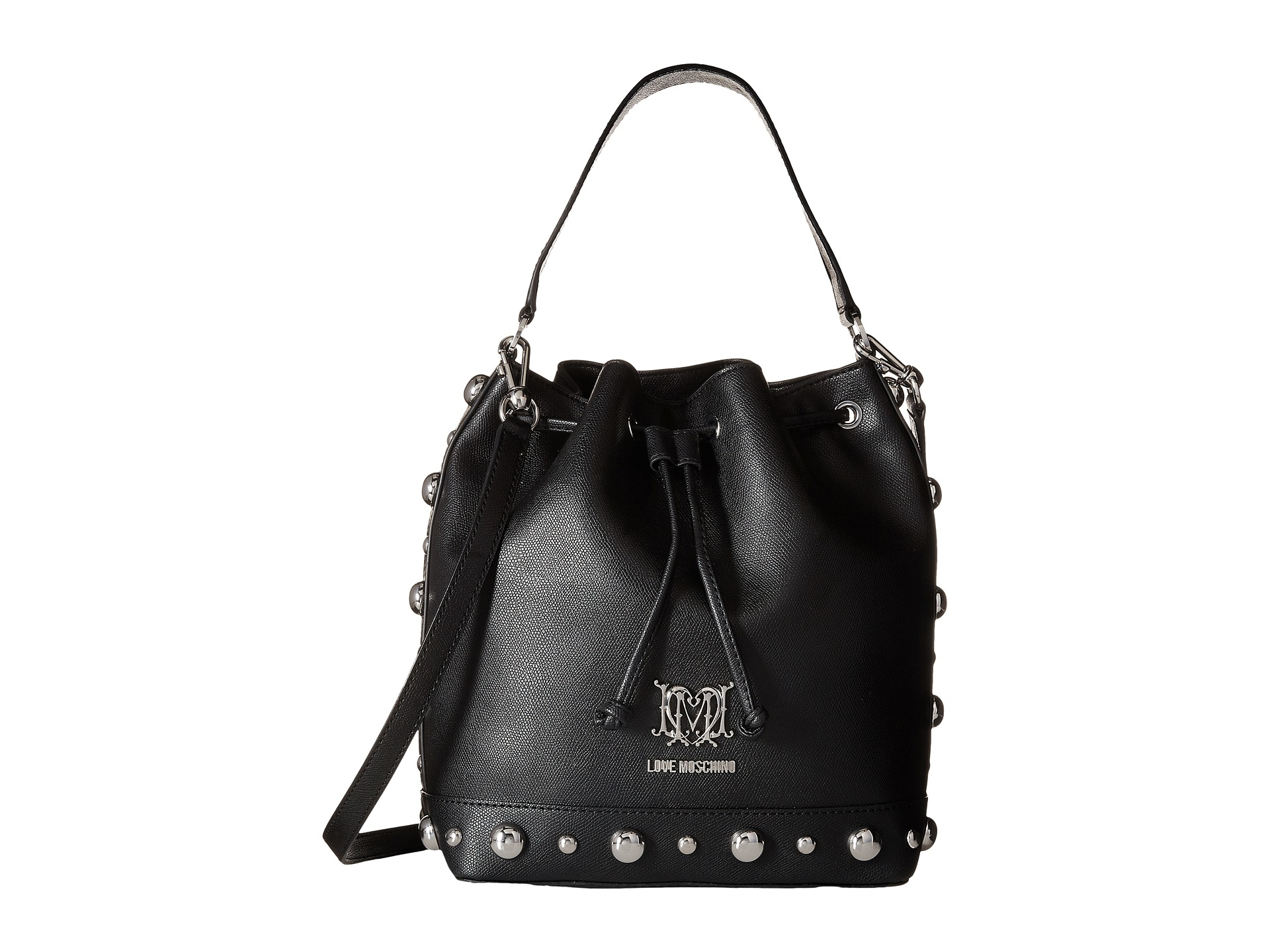 4b176480b Love Moschino Studs Bucket Bag in Black - Lyst