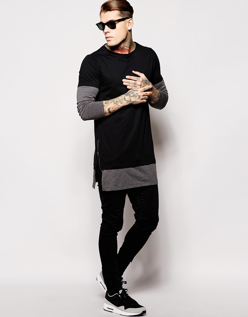 Asos Super Longline Long Sleeve T Shirt With Double Layer