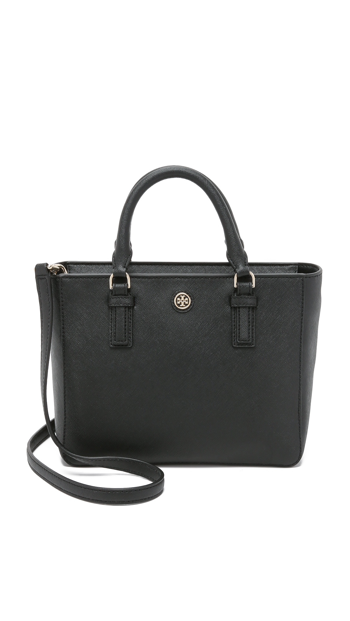 7aa15d6f132a Lyst - Tory Burch Robinson Mini Square Tote - Black in Black