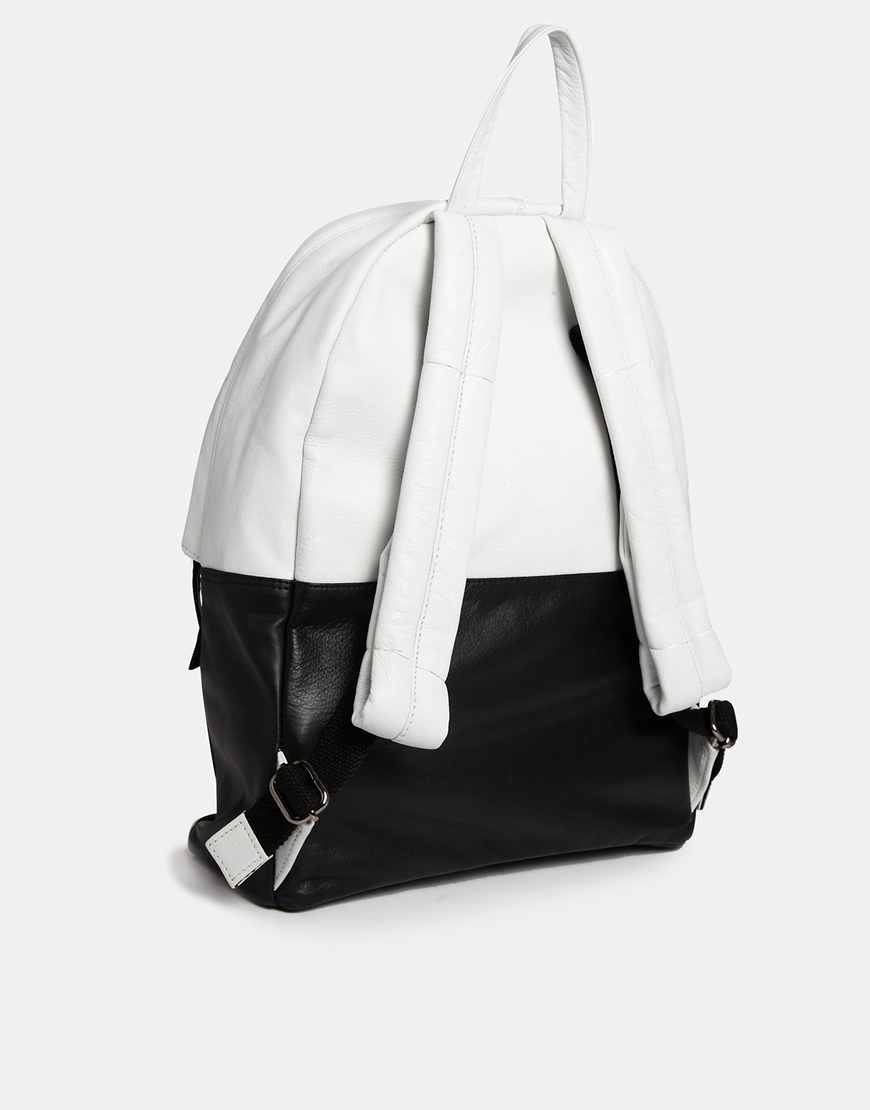 Asos Leather Backpack in White for Men | Lyst