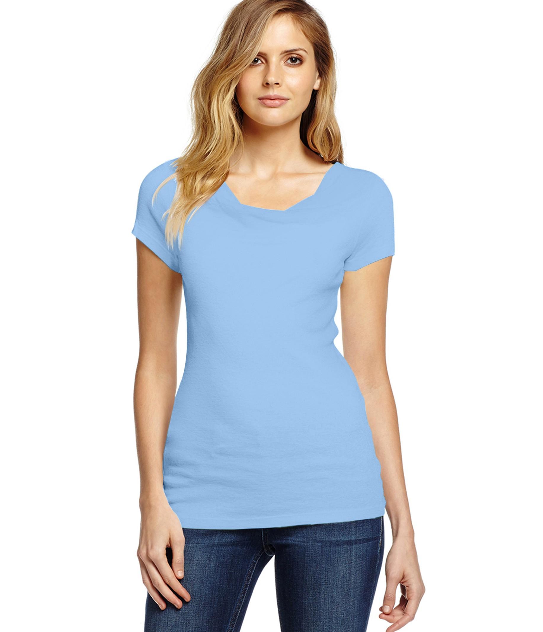 Michael stars shine short sleeve drape neck tee in blue lyst for Michael stars tee shirts