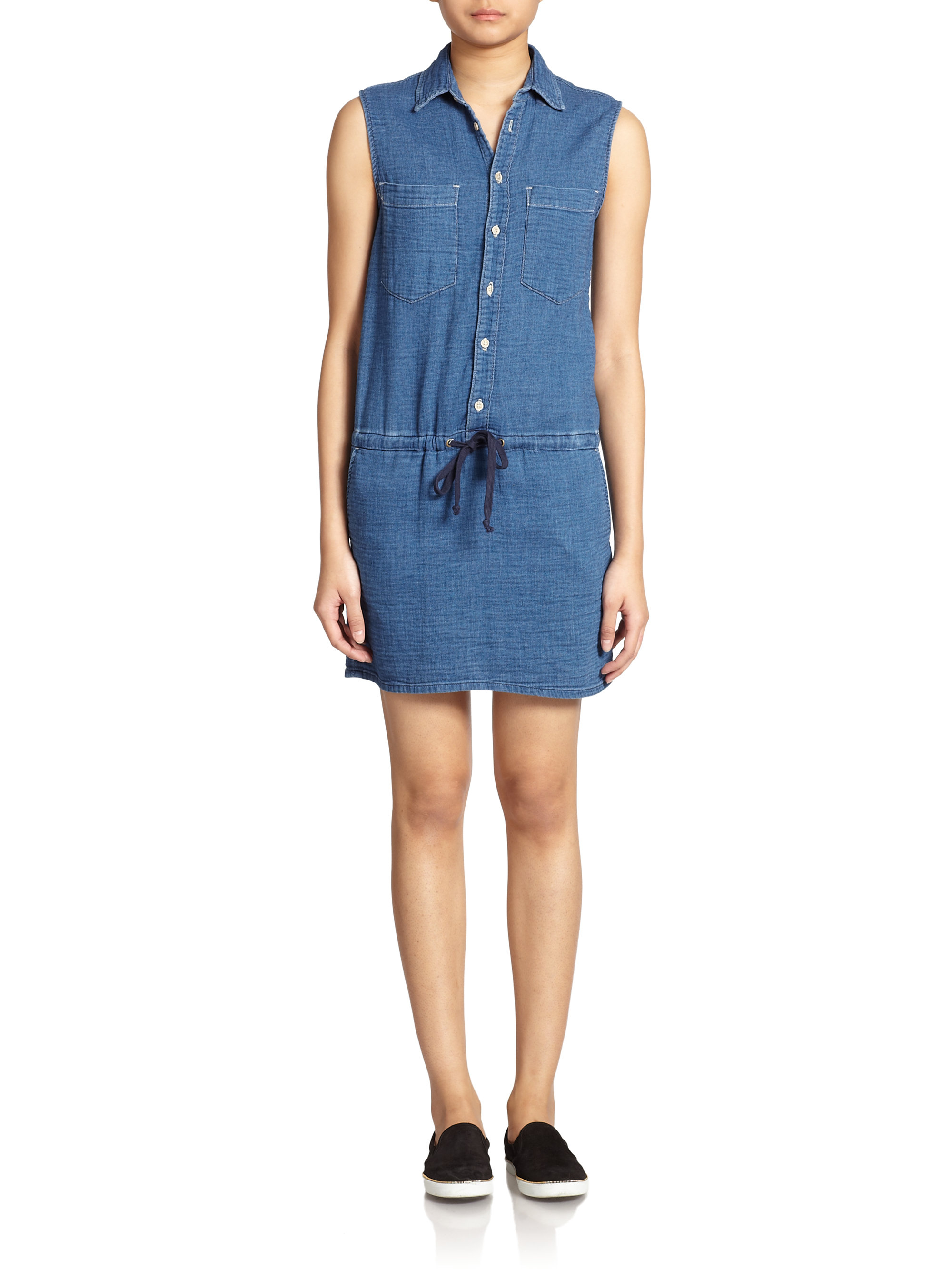 Mother Sleeveless Denim Shirt Dress in Blue | Lyst