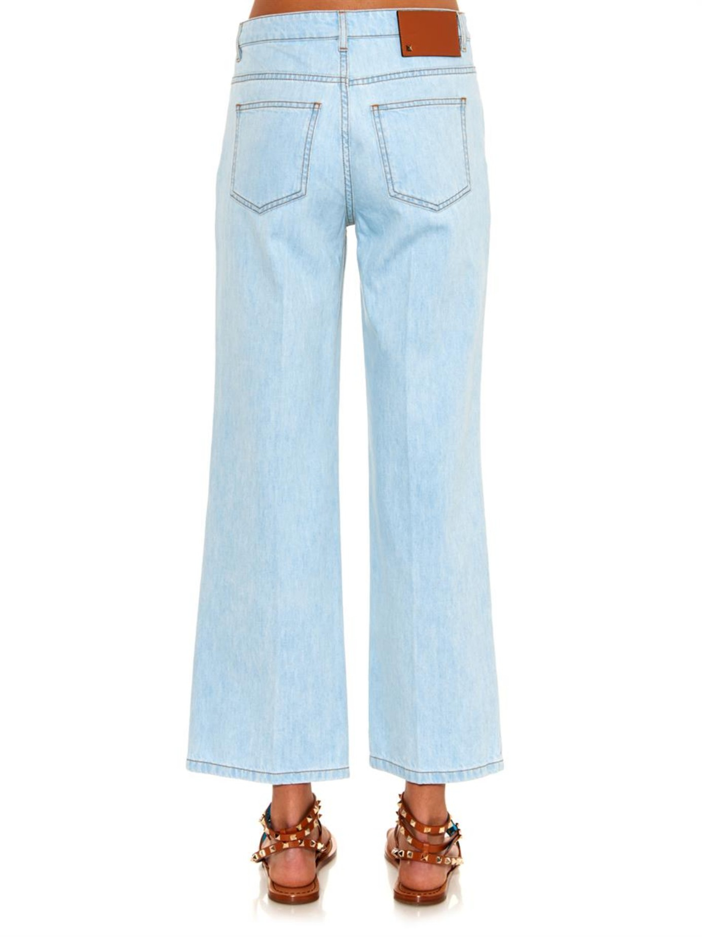 Valentino High-waisted Wide-leg Cropped Jeans in Blue | Lyst