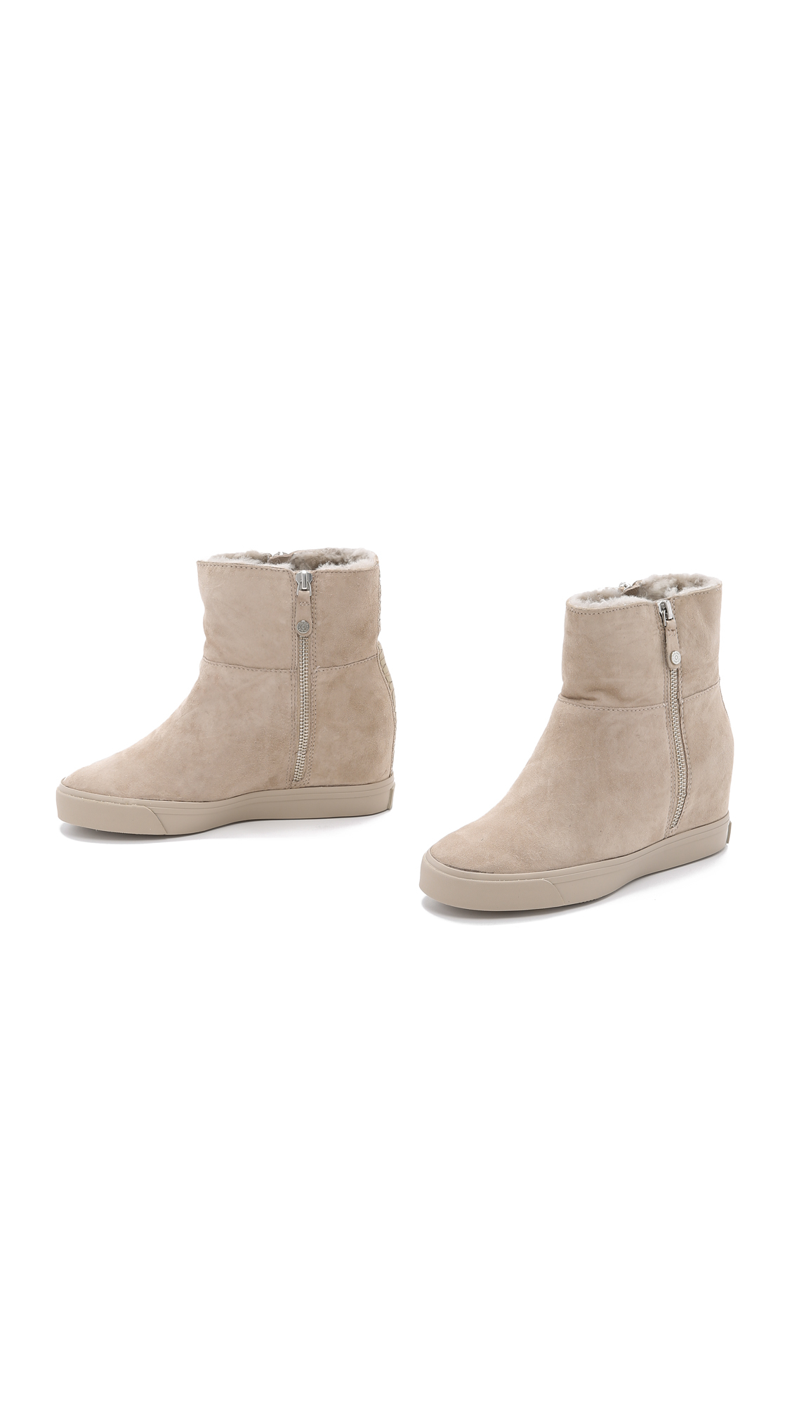 09942a9a431 DKNY Clarissa Wedge Booties - Light Taupe in Brown - Lyst