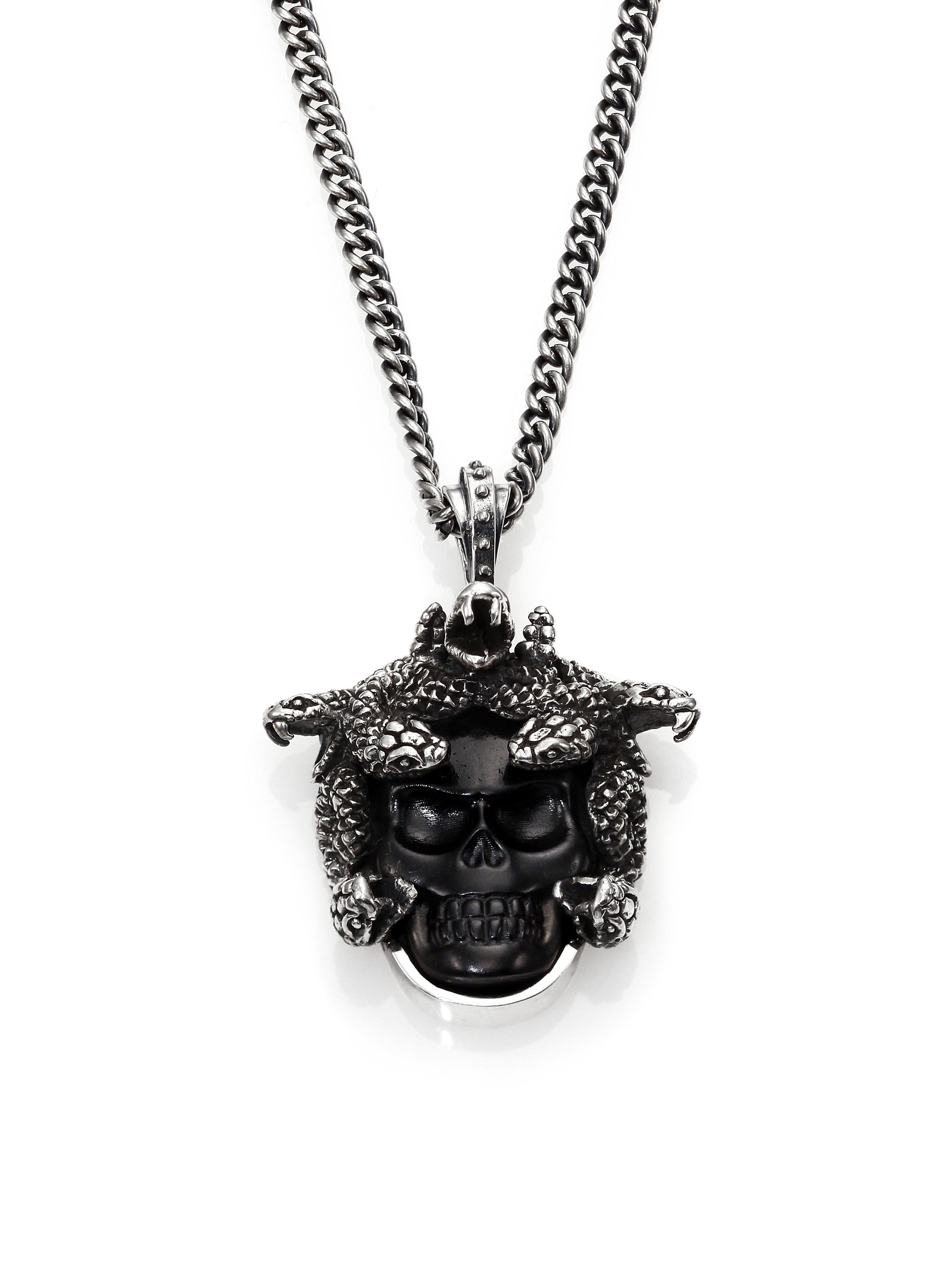 Lyst king baby studio carved jet medusa pendant necklace in black gallery aloadofball Image collections