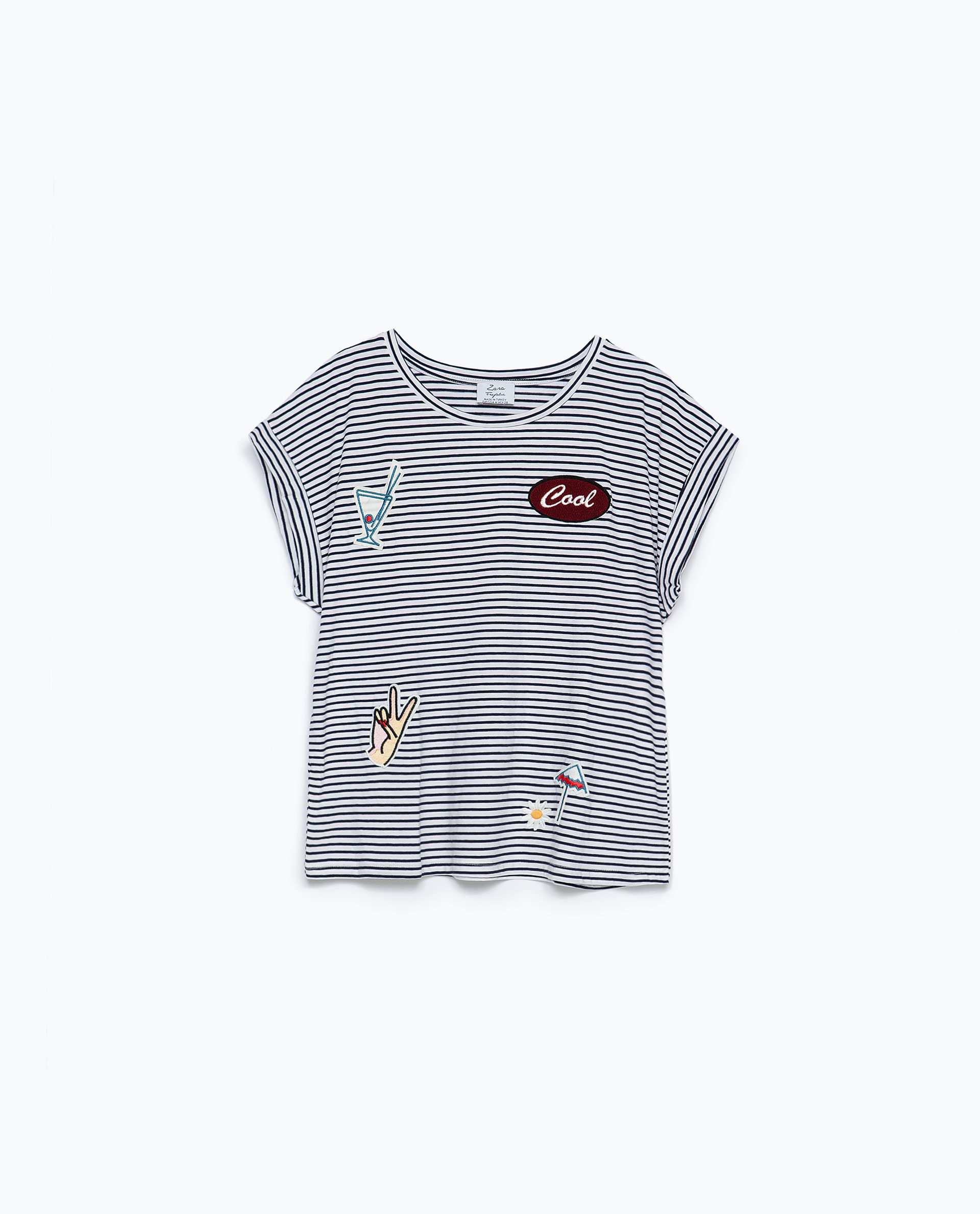Zara schoudertas met patches : Zara striped t shirt with patch in gray white navy lyst