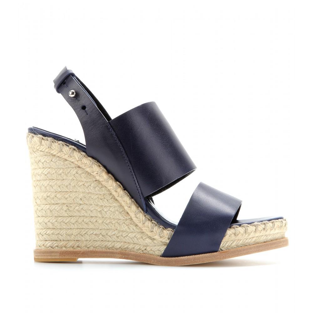 7586159c909 Balenciaga Leather Espadrille Wedge Sandals in Blue