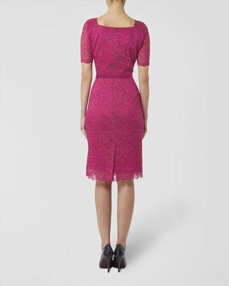 Jaeger Lace Dress In Purple Raspberry Lyst