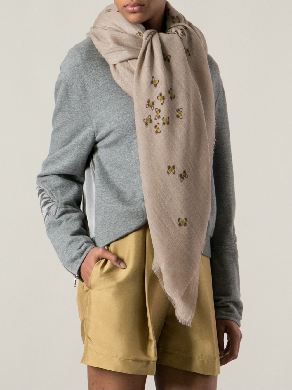 ac4522140c7c Lyst - Bottega Veneta Printed Scarf in Natural