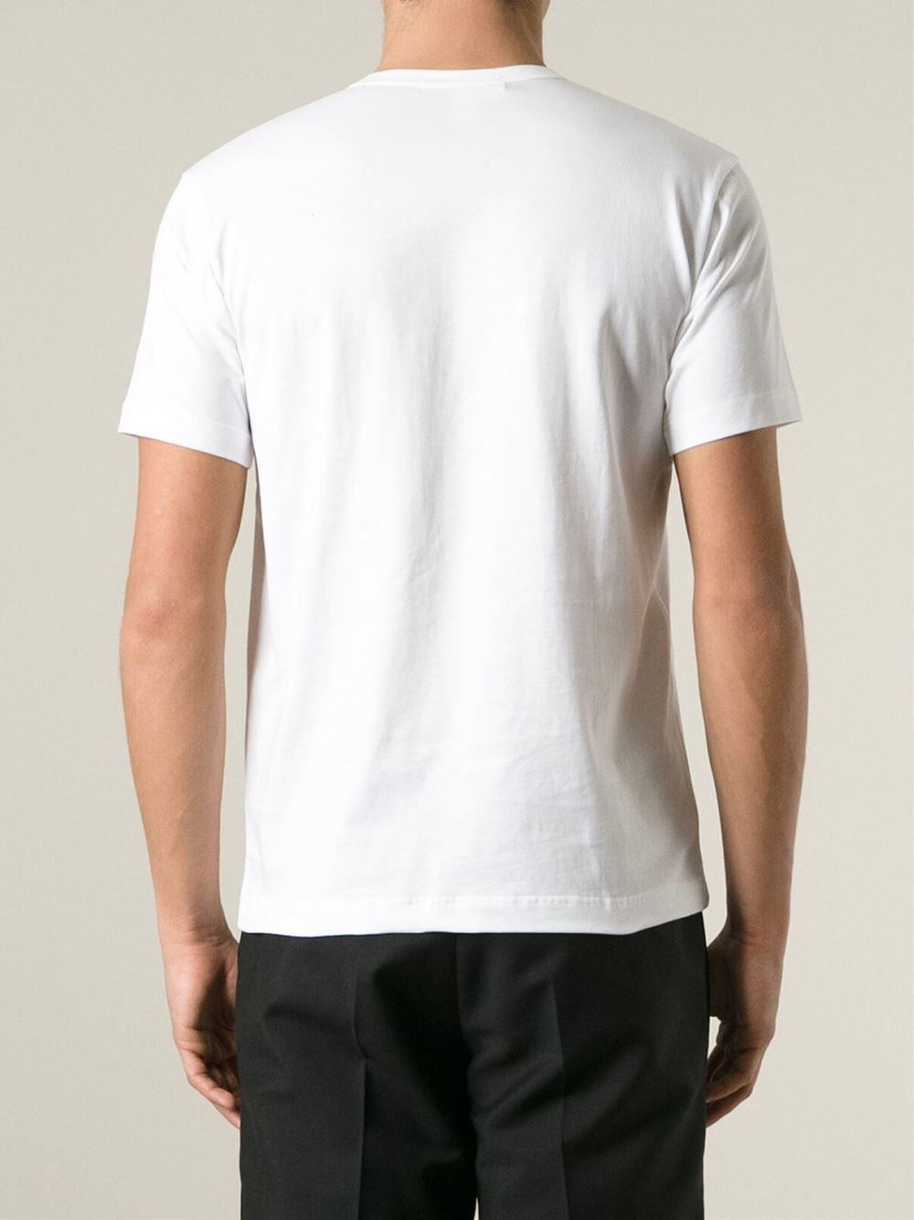 comme des gar ons patch pocket t shirt in white for men lyst. Black Bedroom Furniture Sets. Home Design Ideas