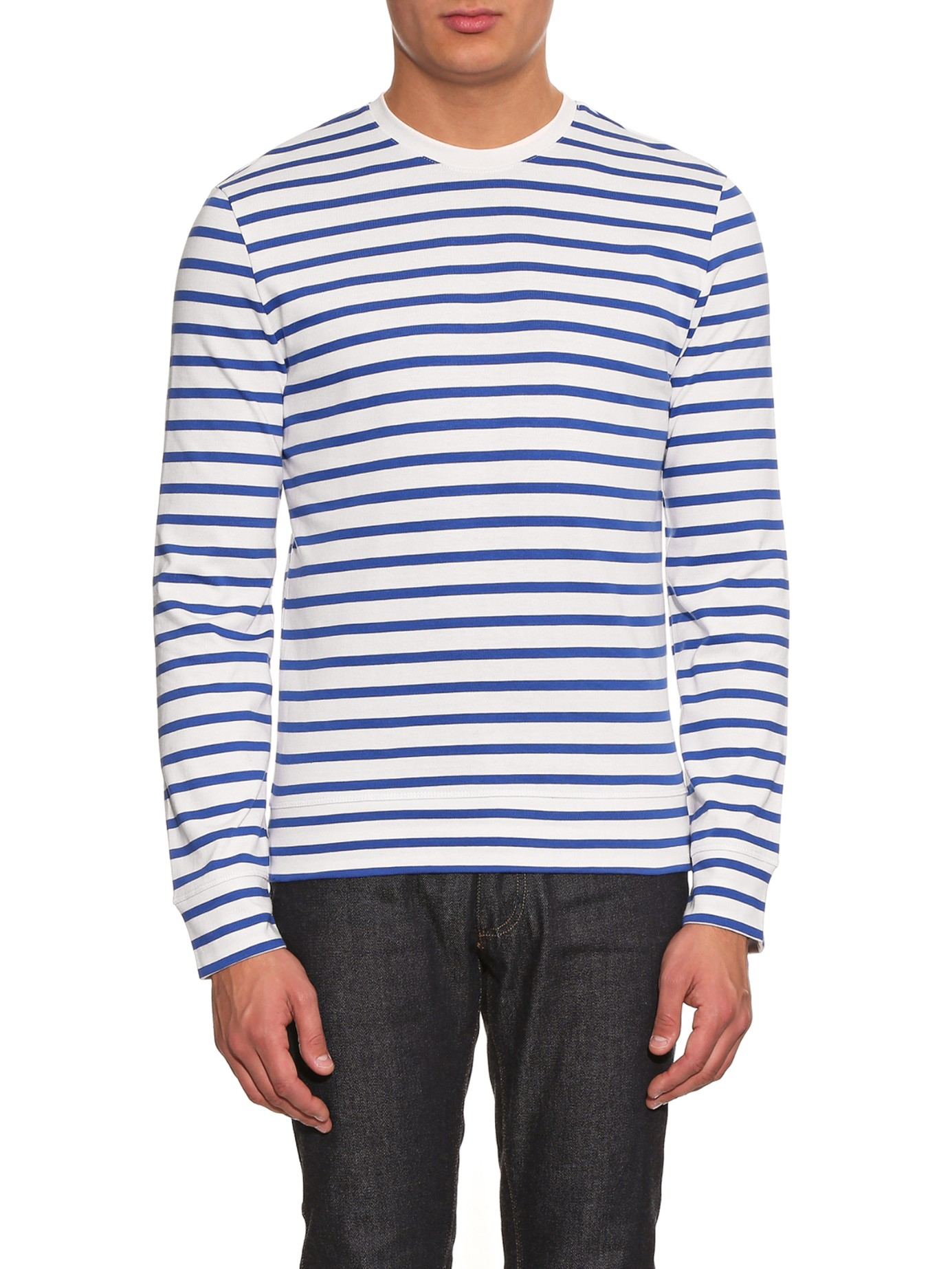 A p c striped cotton t shirt in white for men lyst for Apc white t shirt