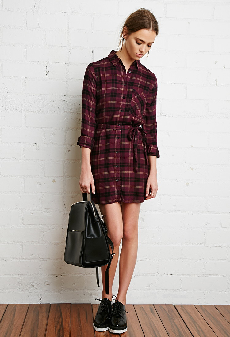 Forever 21 Plaid Flannel Shirt Dress In Black Purple